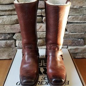 Rare Frye 12R Harness Shearling Boots size 9.5